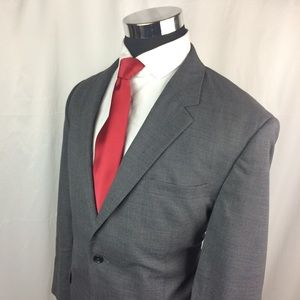 Jos A Bank Mens 44R Blazer Wool Grey Two Button